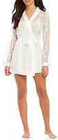 Cassandra Tama Lace & Satin Kimono Wrap Robe
