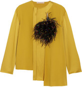 Christopher Kane Feather-embellished Crepe And Satin Top - Mustard