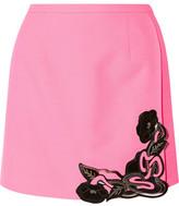 Christopher Kane Leather-Embellished Wool-Crepe Mini Skirt