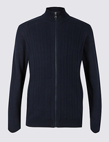 Blue Harbour Cotton Rich Zipped Through Cardigan