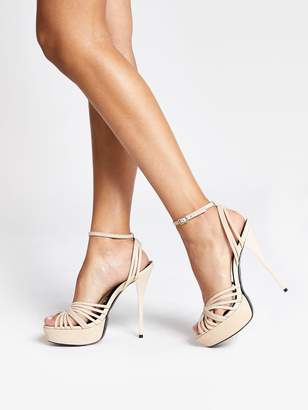 River Island Leather Strappy Platform Heel Sandals - Cream