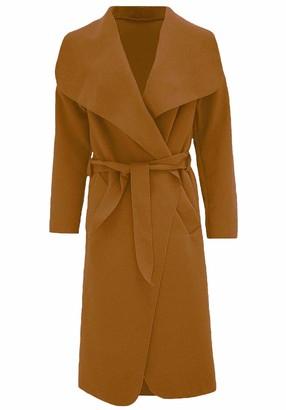MA ONLINE Ladies Belted Long Sleeve Italian Waterfall Jacket Women Casual Wear Duster Coat Coffee M/L UK 12-14