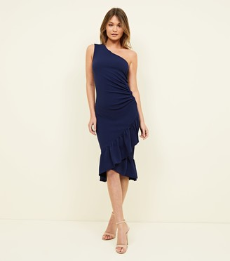 New Look AX Paris One Shoulder Ruffle Hem Dress