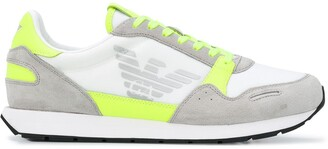 Emporio Armani Neon-Trimmed Suede-Panel Low Top Trainers