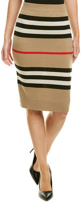 Burberry Icon Stripe Wool Pencil Skirt