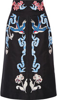 Temperley London Embroidered cotton and silk-blend faille midi skirt