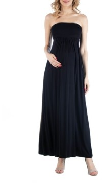 24seven Comfort Apparel Sleeveless Maternity Maxi Dress with Empire Waist and Belt