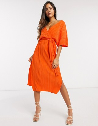 Y.A.S wrap midi dress with kimono sleeve in orange plisse
