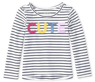 Children's Place The Long Sleeve Striped Sequin High-Low T-Shirt (Baby Girls & Toddler Girls)