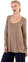 Saint Grace Brit Side Button Long Sleeve Top In Mojave