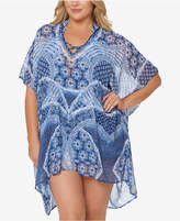 Jessica Simpson Plus Size Printed Strappy-Back Cover-Up Women's Swimsuit