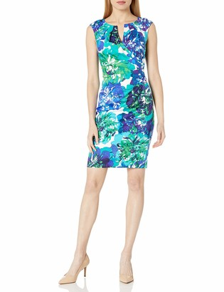 Adrianna Papell Women's Printed Floral Stretch Cotton Side Drape with Split Neckline