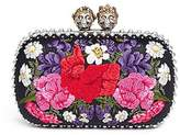Alexander McQueen 'Queen and King' Swarovski crystal skull floral embroidered box clutch