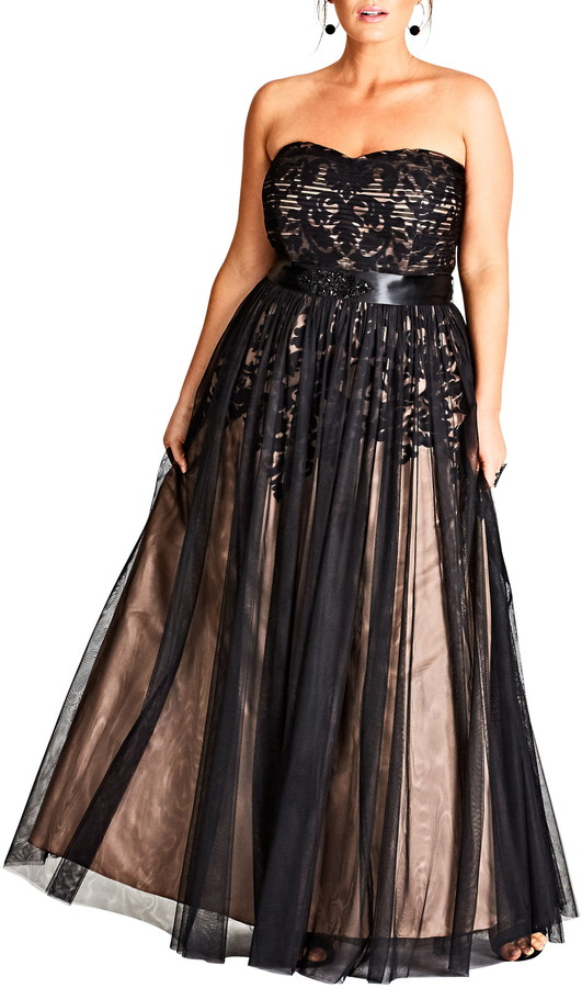 City Chic Embellished Tulle Strapless Ballgown