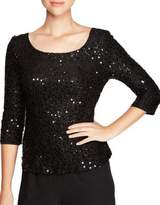Alex Evenings Plus Sequin Three-Quarter Sleeve Blouse