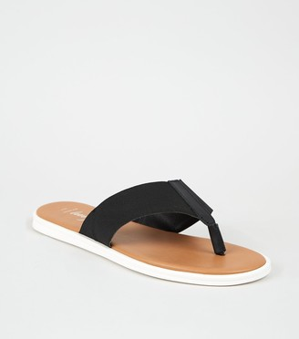 New Look Wide Fit Leather Elastic Strap Flip Flops