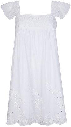 Juliet Dunn Embroidered Washed Cotton Mini Baby Doll Dress