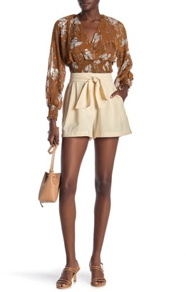 WAYF Berkshire Pleated High Waist Tie Shorts