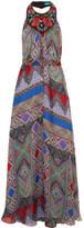 Matthew Williamson Embellished Printed Silk-chiffon Halterneck Gown - Blue