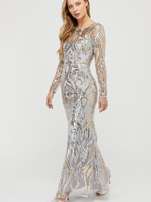 Monsoon Lily GoldSequin Maxi Dress - Silver