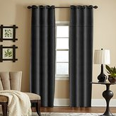 "Veratex York Collection Contemporary Style 100% Linen Bedroom Grommet Style Fastener Window Curtain, 105"" Long, Black"