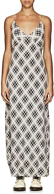 Marc Jacobs Women's Plaid Washed Silk Long Slipdress - White Pat.