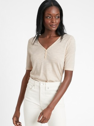 Banana Republic Petite Sub Cotton-Modal Henley T-Shirt