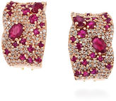 Effy 14K Rose Gold Diamond and Natural Ruby Earrings