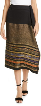 Zero Maria Cornejo Miro Metallic Jacquard Faux Wrap Skirt