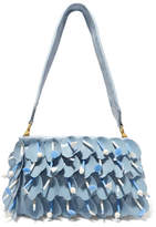Miu Miu Swimming Embellished Appliquéd Leather Shoulder Bag - Blue