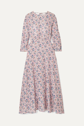Les Rêveries Floral-print Silk Crepe De Chine Midi Dress - Pastel pink