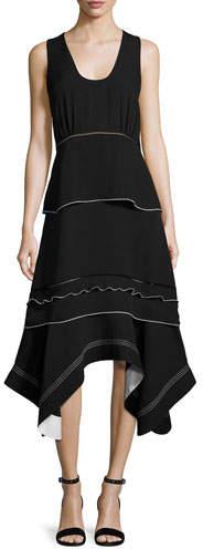Derek Lam Sleeveless Handkerchief-Hem Midi Dress, Black