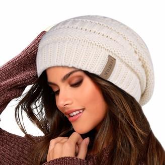 FURTALK Knit Beanie Hat for Ladies Fleece Line Ski Skull Cap Slouchy Winter Hats for Women Beige