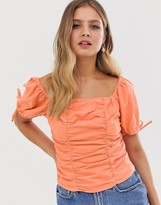 Asos Design DESIGN neon top with shirring in linen