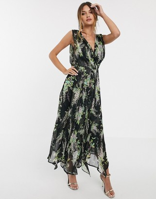 Asos Design DESIGN wrap bodice maxi dress with drape back in lilac floral print with black base