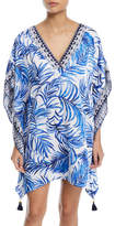 Tommy Bahama Double V-Neck Palm-Printed Tunic with Tassel Ties