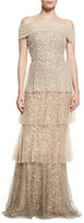 Badgley Mischka Pearly Ombre Tiered Gown, Gold