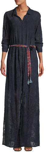 Johnny Was Tina Long-Sleeve Embroidered Georgette Shirtdress w/ Printed Belt