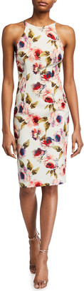 Black Halo Alexandria Floral Print Sheath Dress