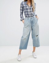 Only Wide Leg Crop Jean with Rips