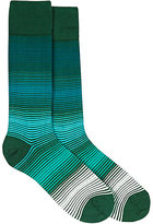 Paul Smith Men's Micro-Striped Mid-Calf Socks-GREEN