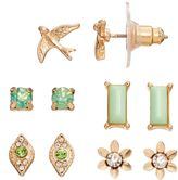 Lauren Conrad Green Flower, Bird & Rectangular Stud Earring Set