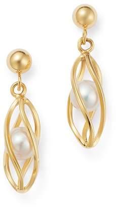Bloomingdale's Freshwater Pearl Cage Drop Earrings in 14K Yellow Gold - 100% Exclusive