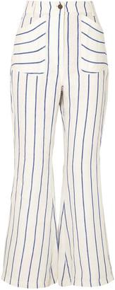 Rosie Assoulin Striped Linen Flared Pants