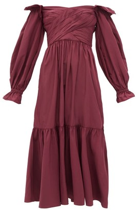 Self-Portrait Off-the-shoulder Taffeta Midi Dress - Burgundy