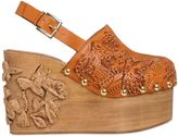 RED Valentino 110mm Embellished Leather & Wood Clogs