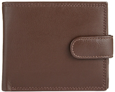 John Lewis Leather Bifold Tab Zip Pocket Wallet, Brown