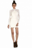 Nightcap Clothing Open Back Victorian Lace Dress in Ivory