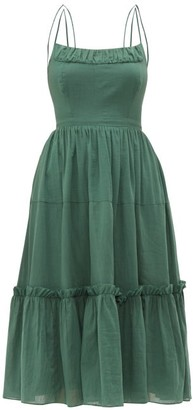 Loup Charmant Alghero Crossed-back Cotton Midi Dress - Womens - Green