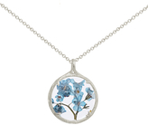 Catherine Weitzman Small Forget Me Not Circle Pendant Necklace, Silver/Blue